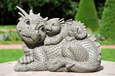 Gartenfigur Gartendrache - Modell Mama + Kind - Fantasy Figur Deko Drache Garten