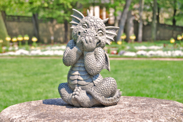 Gartenfigur Gartendrache - Modell kichernd - Fantasy Figur Deko Drache Garten