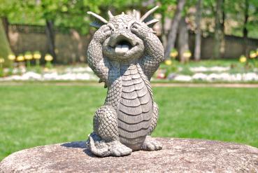 Gartenfigur Gartendrache - Modell seh nichts - Fantasy Figur Deko Drache Garten