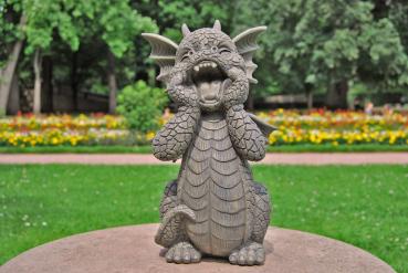Gartenfigur Gartendrache - Modell Schreihals - Fantasy Figur Deko Drache Garten