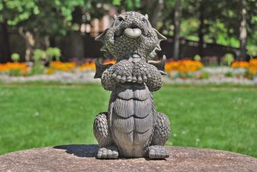 Gartenfigur Gartendrache - Modell bettelnd - Fantasy Figur Deko Drache Garten