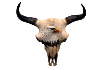 Wanddekoration - Büffelkopf mit Adler - ca. 56 x 52 cm