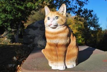 Gartenfigur - Katze sitzend, braun - ca. 29 x 22 x 22 cm