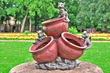 3 Gartendrachen auf Blumentopf