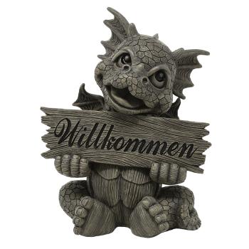 Gartenfigur Gartendrache - Modell Willkommen - Fantasy Figur Deko Drache süß
