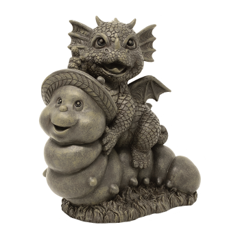 Gartenfigur Gartendrache - Modell Wurmreiter - Fantasy Figur Deko Drache süß