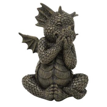 Gartenfigur Gartendrache - Modell kichernd klein - Fantasy Figur Deko Drache süß