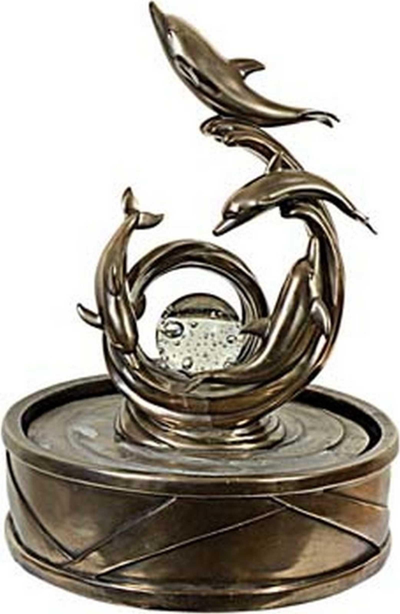 Delphin Brunnen Bronziert Mit Led Beleuchtung Gartenfiguren