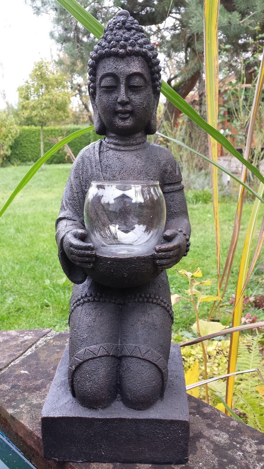 Windlicht figur buddha xl teelichthalter heim garten deko statue skulptur gartenfiguren - Buddha figur garten ...