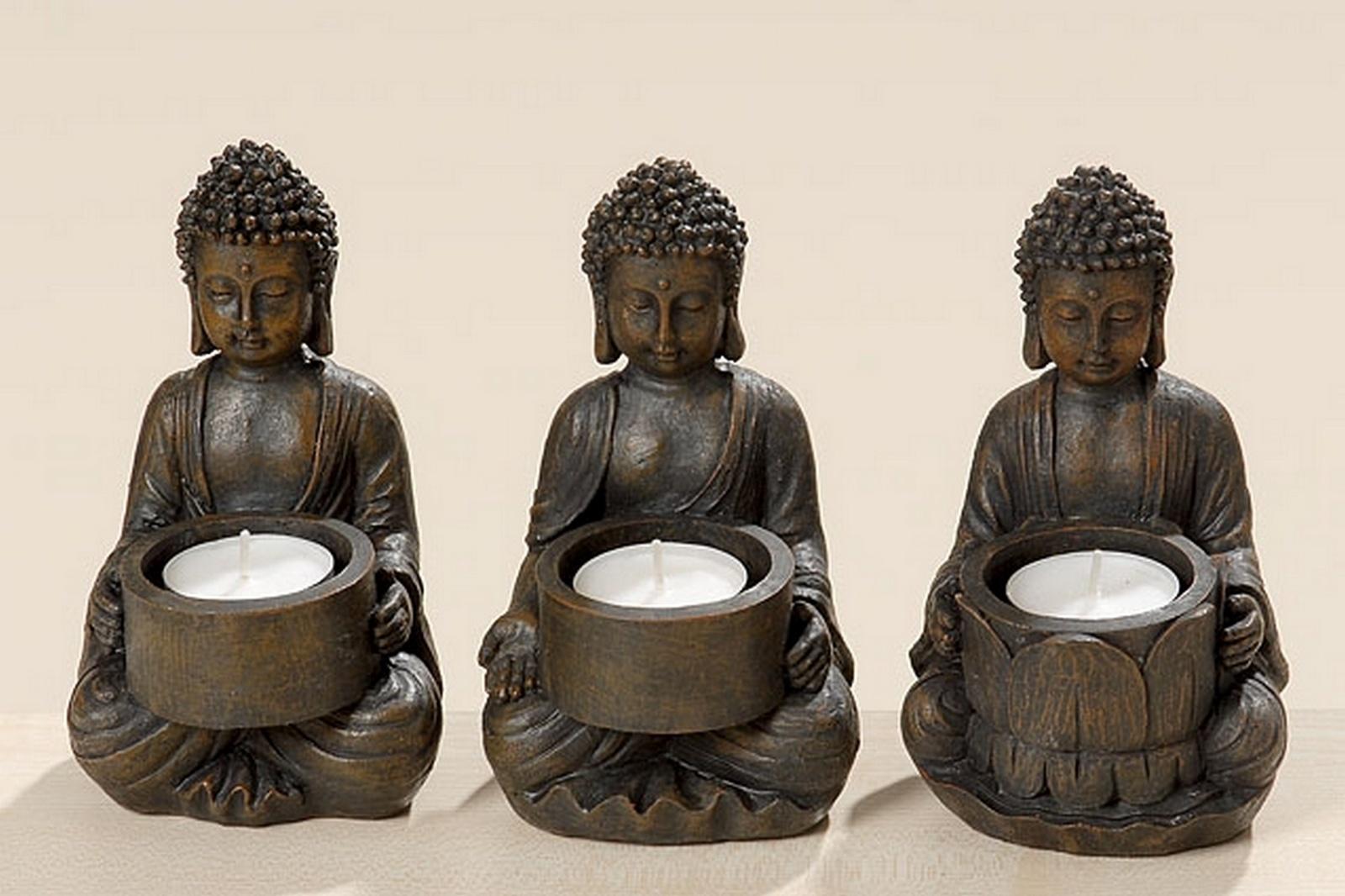 teelichthalter buddha 3er set gartenfiguren figuren und weinflaschenhalter online kaufen. Black Bedroom Furniture Sets. Home Design Ideas